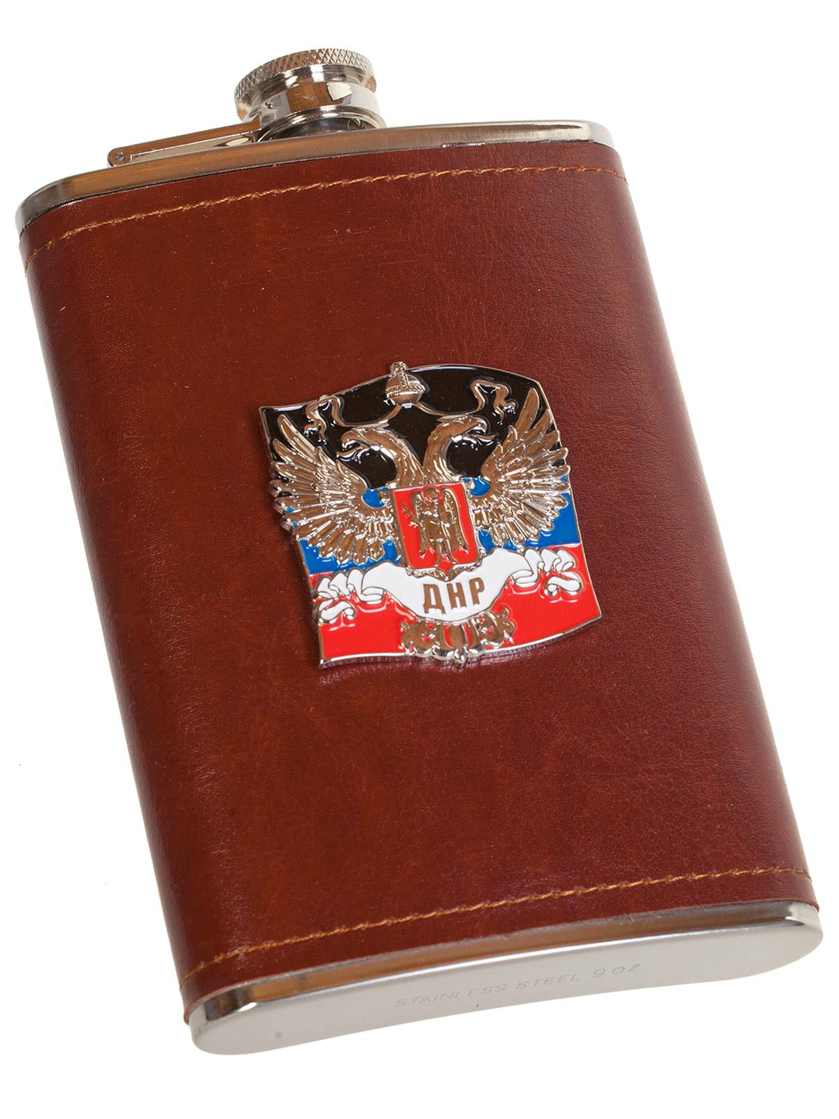 Плоская нержавеющая фляжка в чехле с накладкой ДНР - купить онлайн