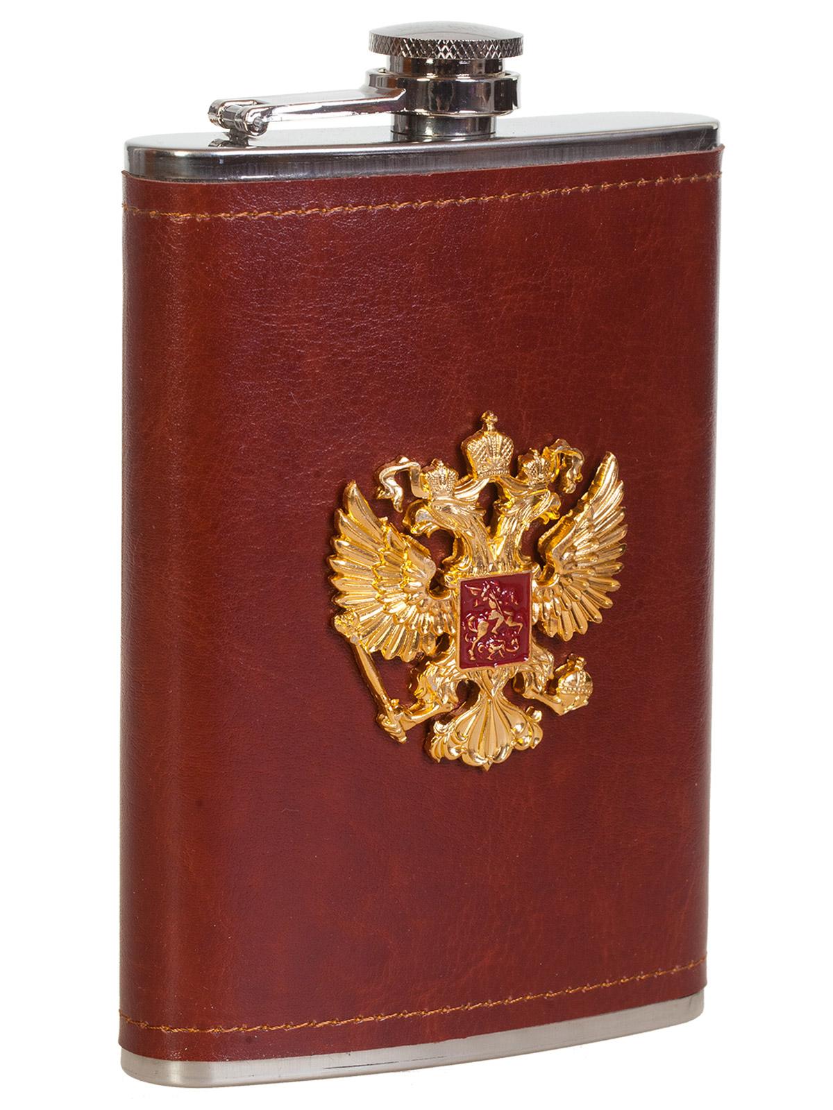 Квадратная подарочная фляга с гербом Российской Федерации