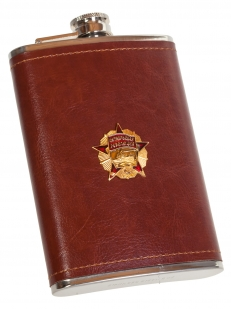 Плоская нержавеющая фляжка в чехле с Орденом Октябрьской Революции - купить в розницу