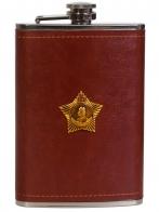 Плоская нержавеющая фляжка в чехле с Орденом Суворова