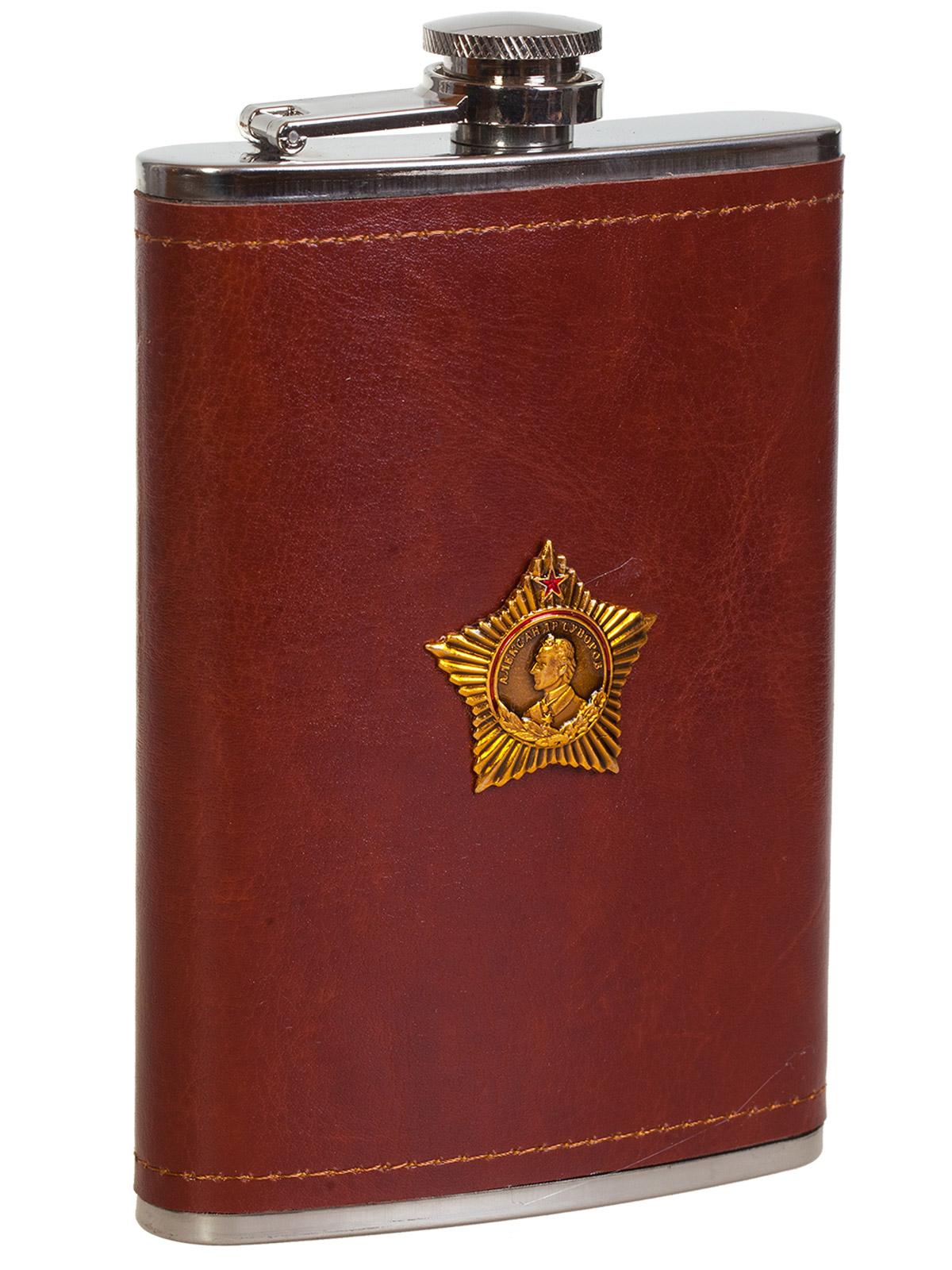 Купить плоскую нержавеющую фляжку в чехле с Орденом Суворова по лучшей цене