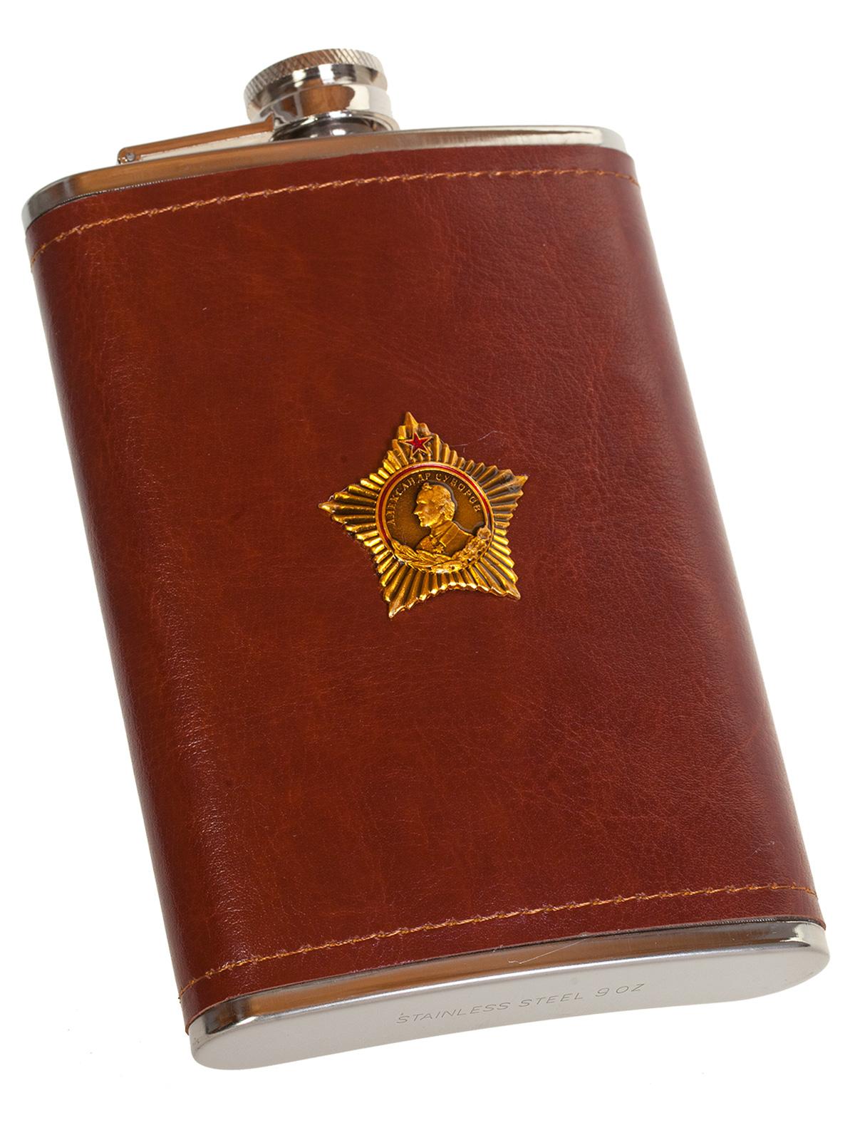 Плоская нержавеющая фляжка в чехле с Орденом Суворова - купить по низкой цене