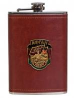 Плоская подарочная фляжка с металлической накладкой Афган