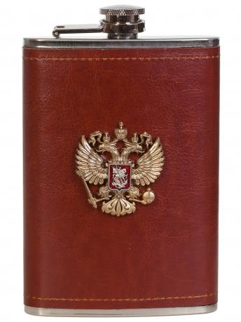 Плоская подарочная фляжка с накладкой Герб РФ