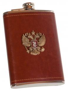 Плоская подарочная фляжка с накладкой Герб РФ - купить по низкой цене