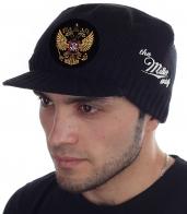 Плотная шапка Miller Way с патриотической символикой – гербом России. Модный мужской головной убор для стиля streetwear или casual. Доставим в любой город