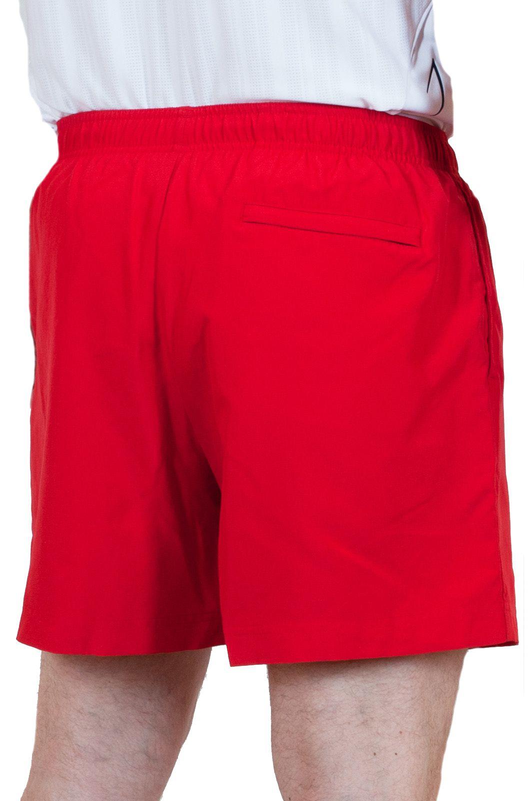 Пляжные мужские шорты красного цвета - вид сзади