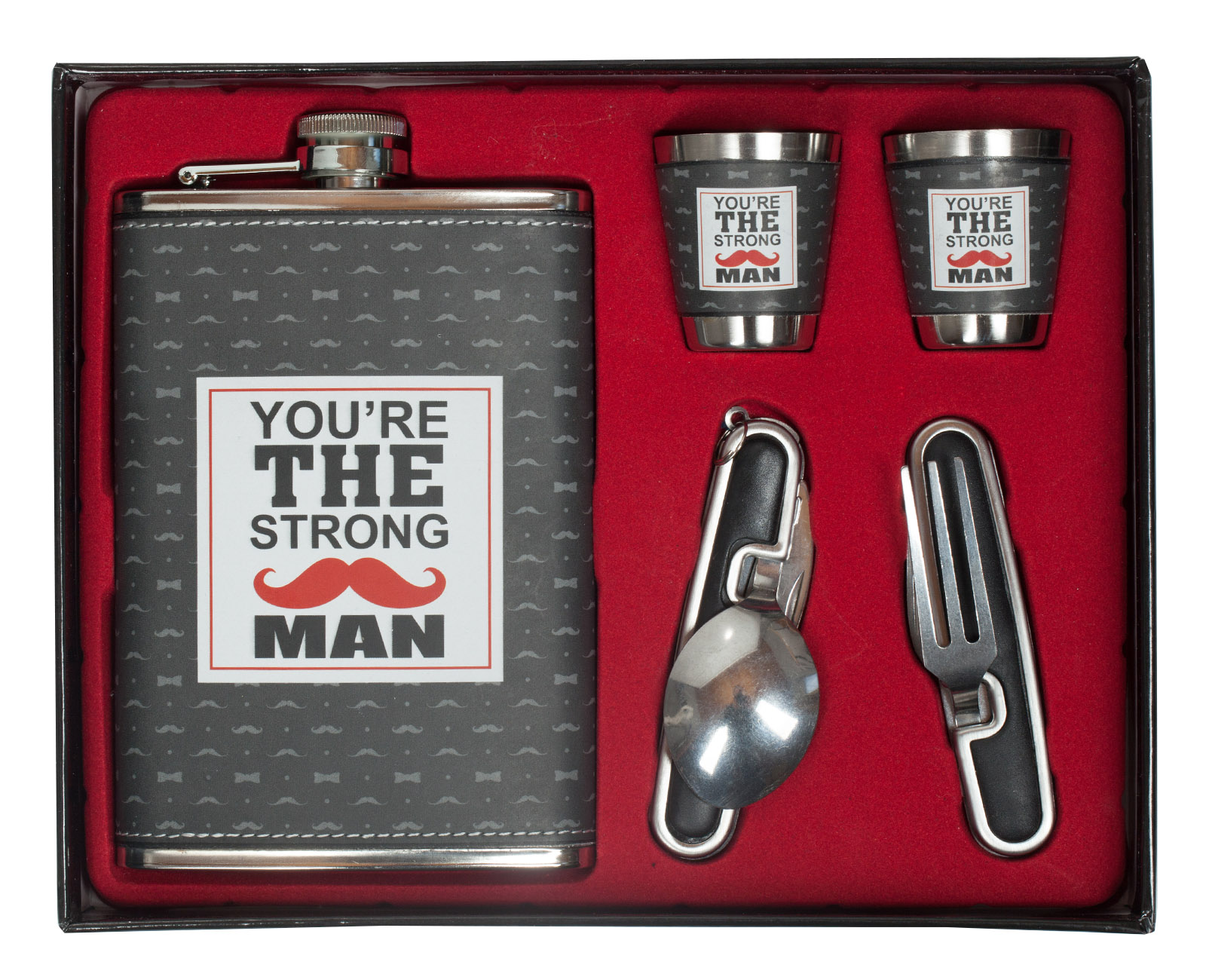 """Подарочная фляжка для коньяка """"The Strong Man"""" (фляжка, 2 стопки, вилка, ложка-нож)"""