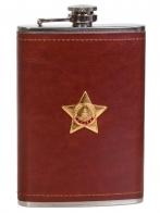 Подарочная фляжка в кожаной оплетке с Орденом Славы