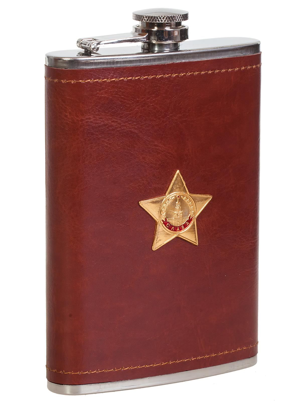 Купить подарочную фляжку в кожаной оплетке с Орденом Славы с доставкой или самовывозом