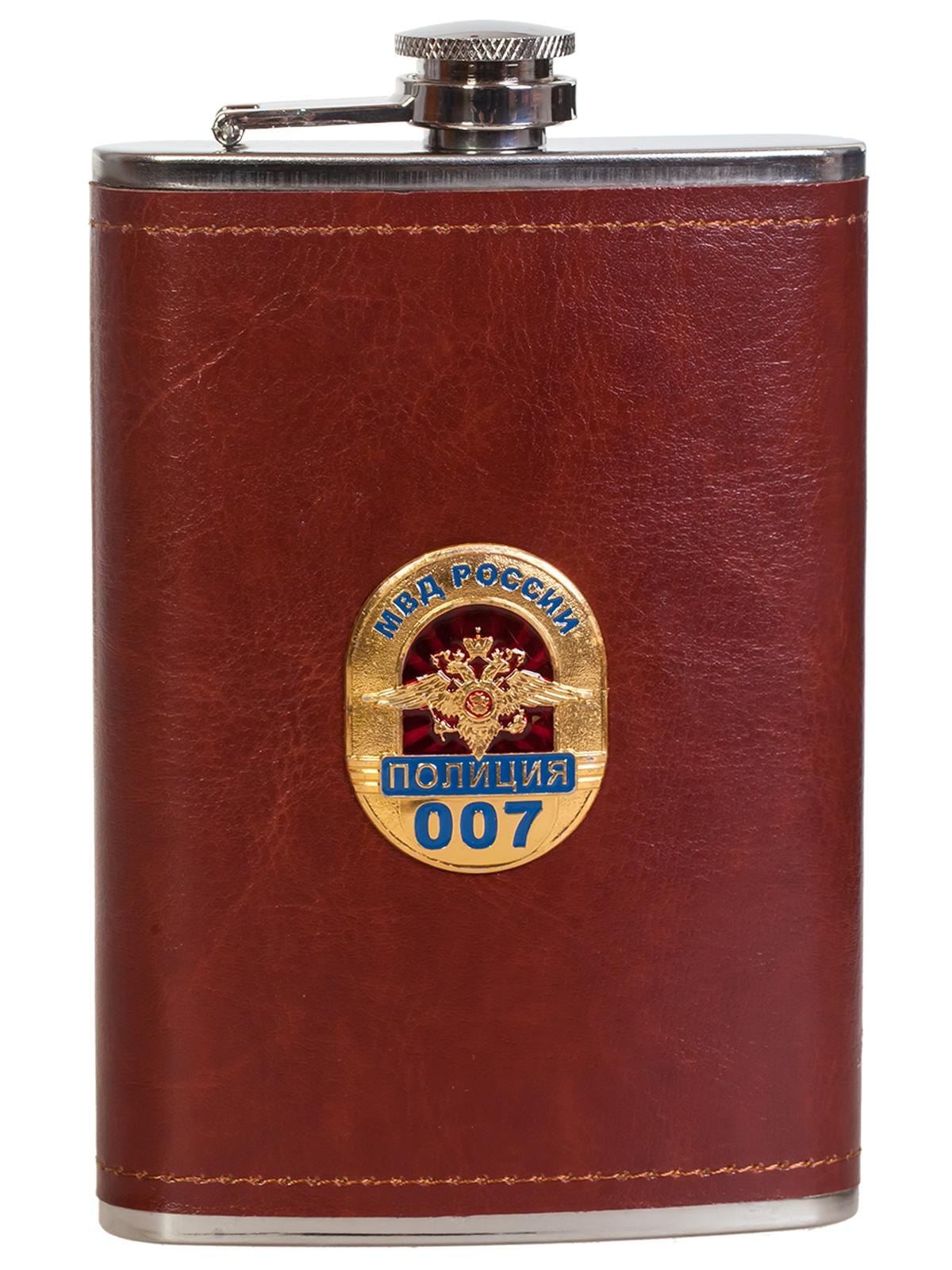 Подарочная крутая фляга в кожаном чехле с накладкой МВД России. Полиция