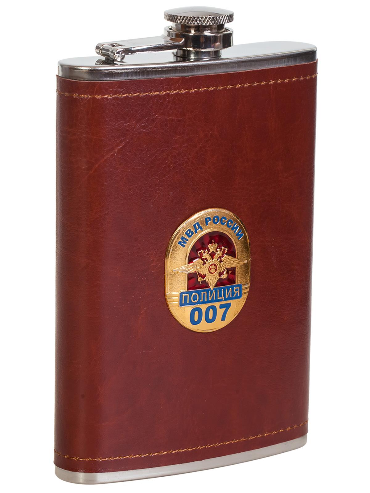 Купить подарочную крутую флягу в кожаном чехле с накладкой МВД России. Полиция онлайн выгодно