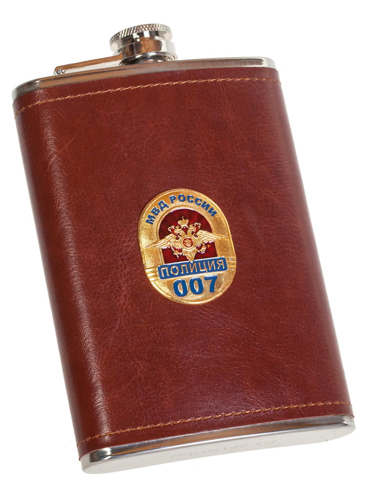 Подарочная крутая фляга в кожаном чехле с накладкой МВД России. Полиция - заказать выгодно