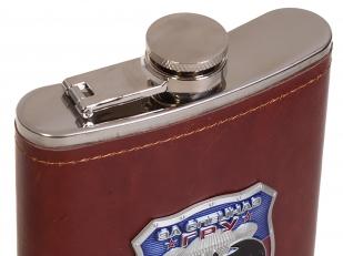 Подарочная крутая фляга в кожаном чехле с накладкой За Спецназ ГРУ - купить оптом