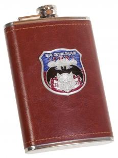 Подарочная крутая фляга в кожаном чехле с накладкой За Спецназ ГРУ - купить с доставкой