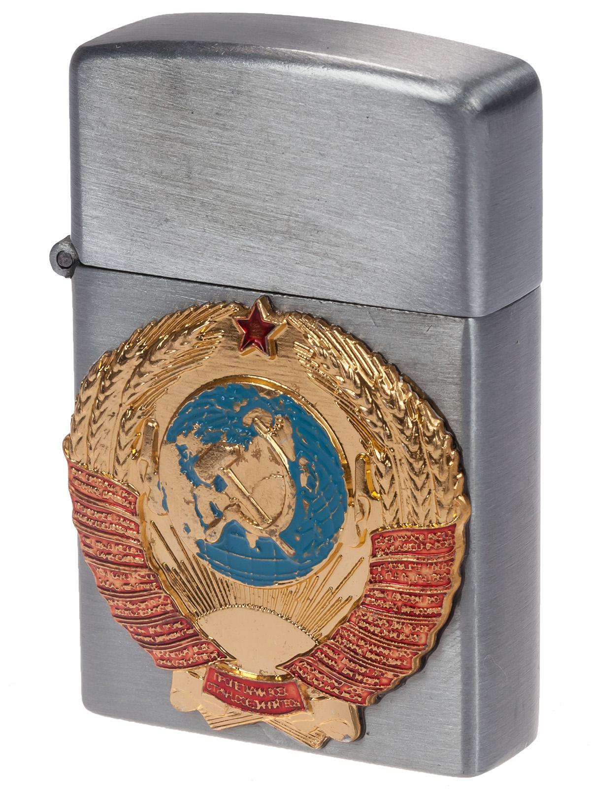 Подарочная зажигалка с гербом СССР (газовая Zippo) по низкой цене к 9 мая недорого