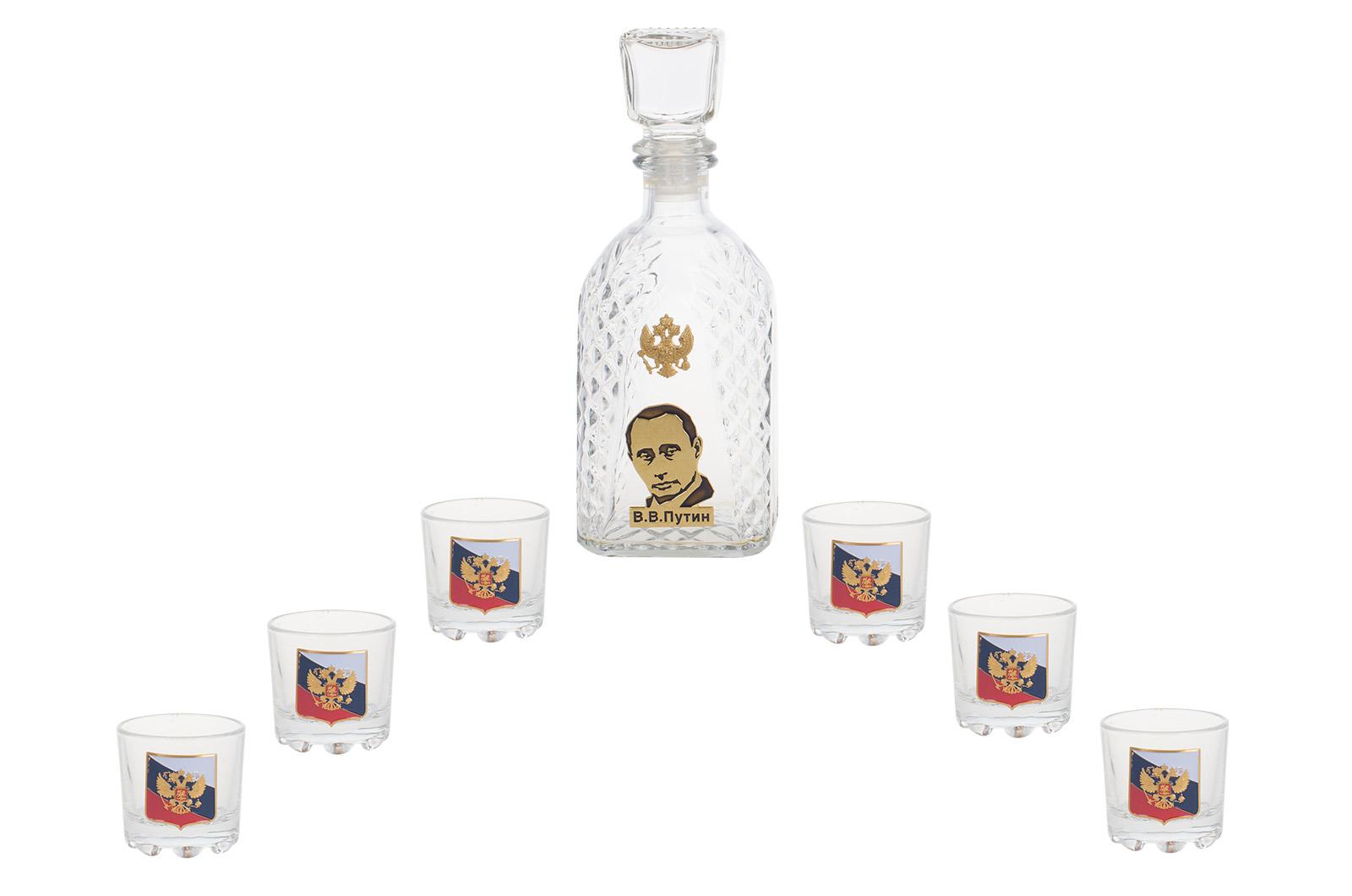 """Купить подарочный набор для коньяка """"Россия"""" (графин +6 стопок)"""