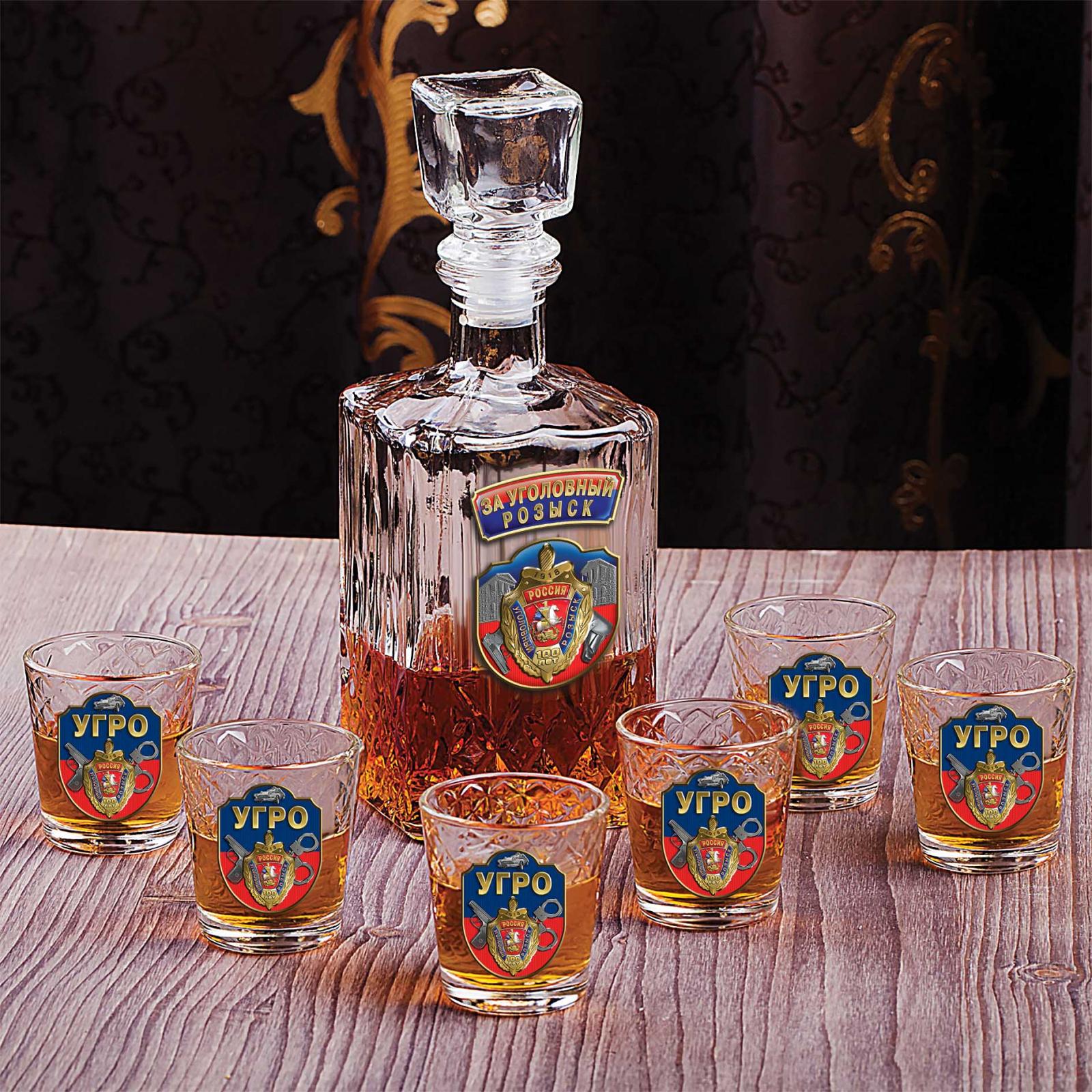 """Подарочный набор для крепких напитков """"За Уголовный розыск! 100 лет"""" (графин +6 стопок)"""