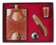 Подарочный набор на 23 февраля (фляжка, стопка, воронка, штопор)