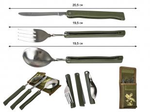 Подарочный набор вилка, ложка, нож для охотника