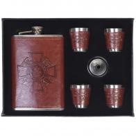 Подарочный набор Потомственный казак (фляжка и 4 стопки в коже, воронка)