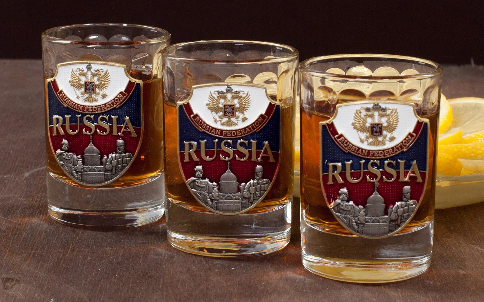 """Подарочный набор стопок """"RUSSIA"""" (3 шт.) по лучшей цене"""
