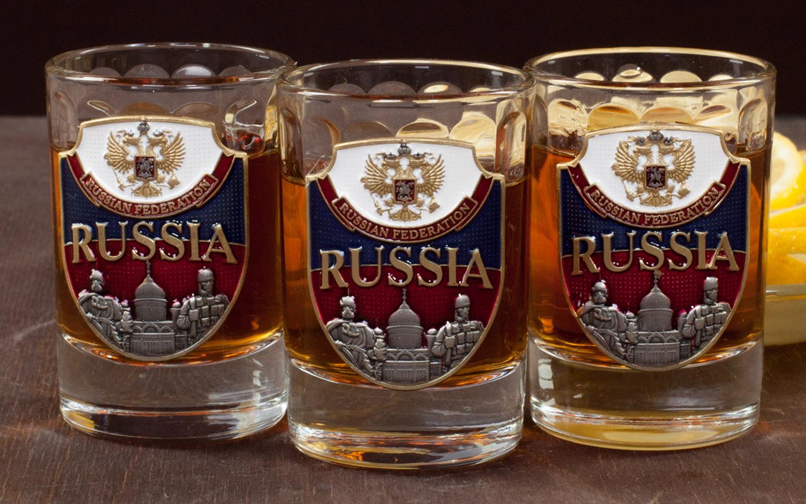 """Заказать подарочный набор стопок """"RUSSIA"""" (3 шт.)"""