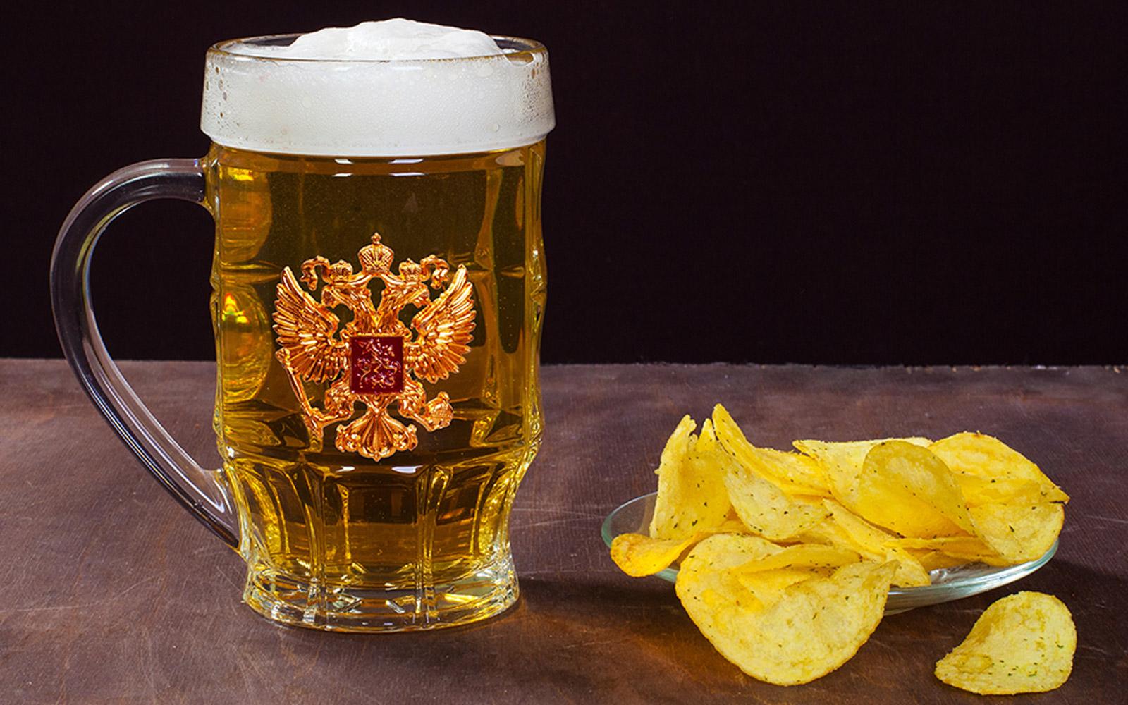 Подарочный пивной бокал с гербом РФ - купить онлайн