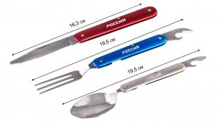 """Подарочный походный набор """"Россия"""" в чехле. 4-в-1: вилка, ложка, нож, открывашка"""