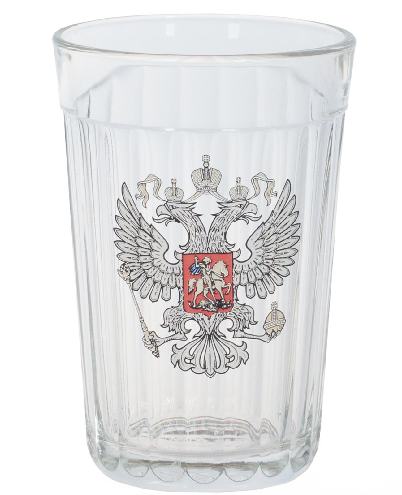 Недорого купить подарочный стакан с гербом России