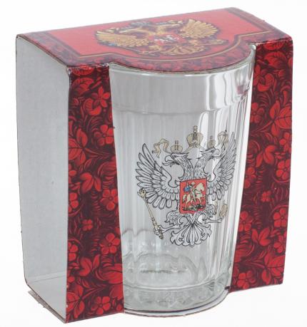 Подарочный стакан с гербом России