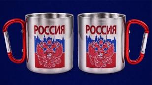 Походная кружка из нержавейки с гербом России - недорого с доставкой