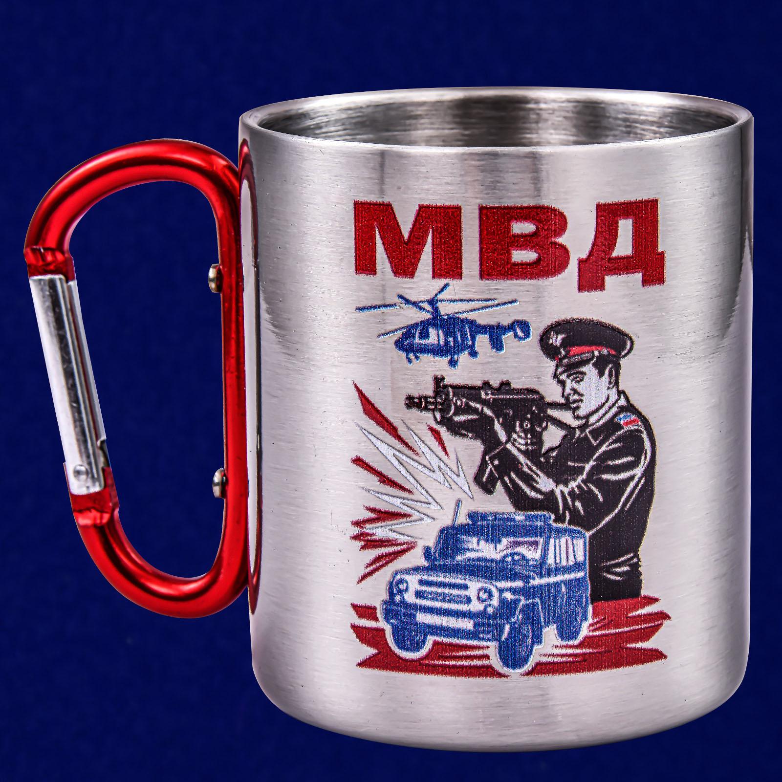 Походная кружка с ручкой-карабином МВД