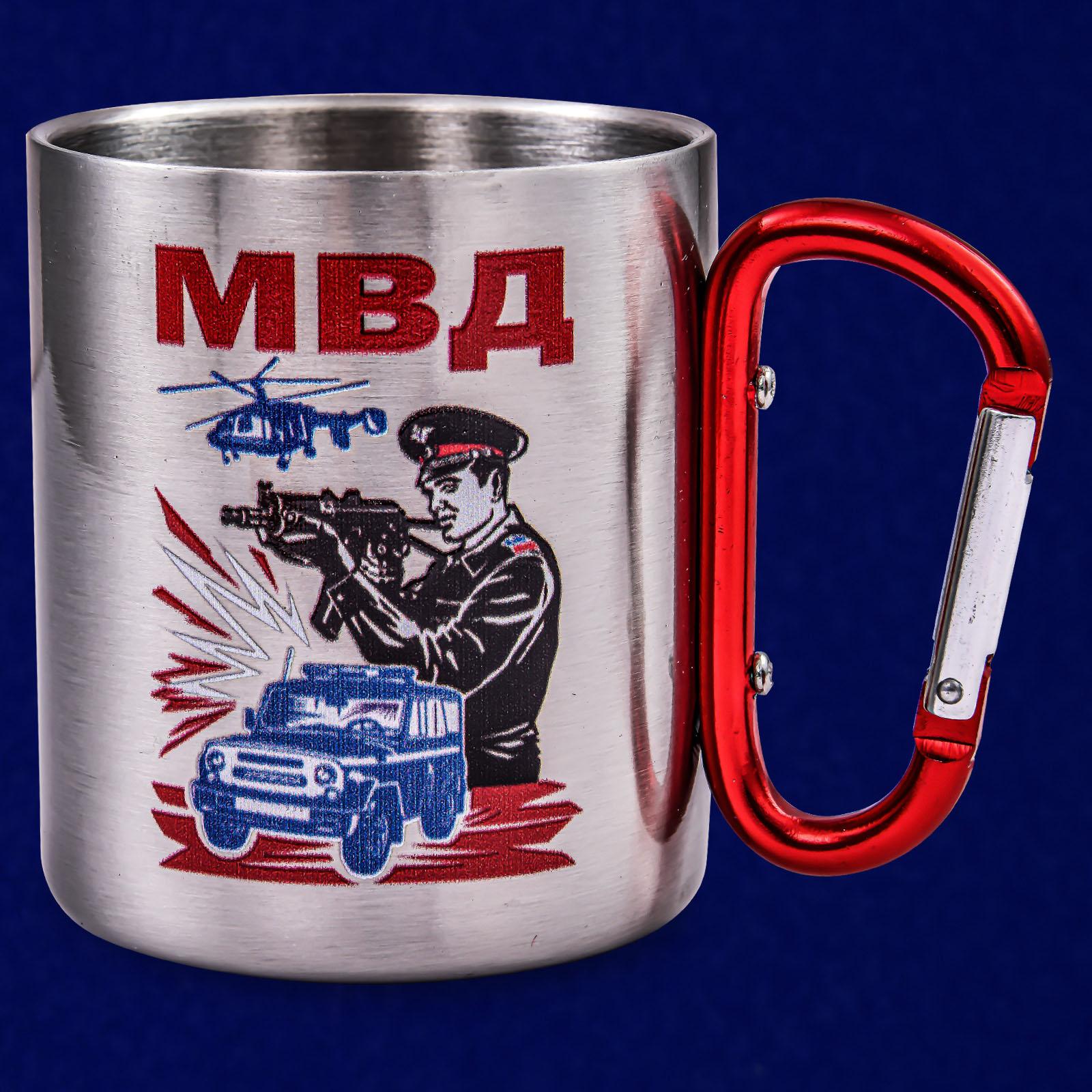 Походная кружка с ручкой-карабином МВД - недорого в Военпро