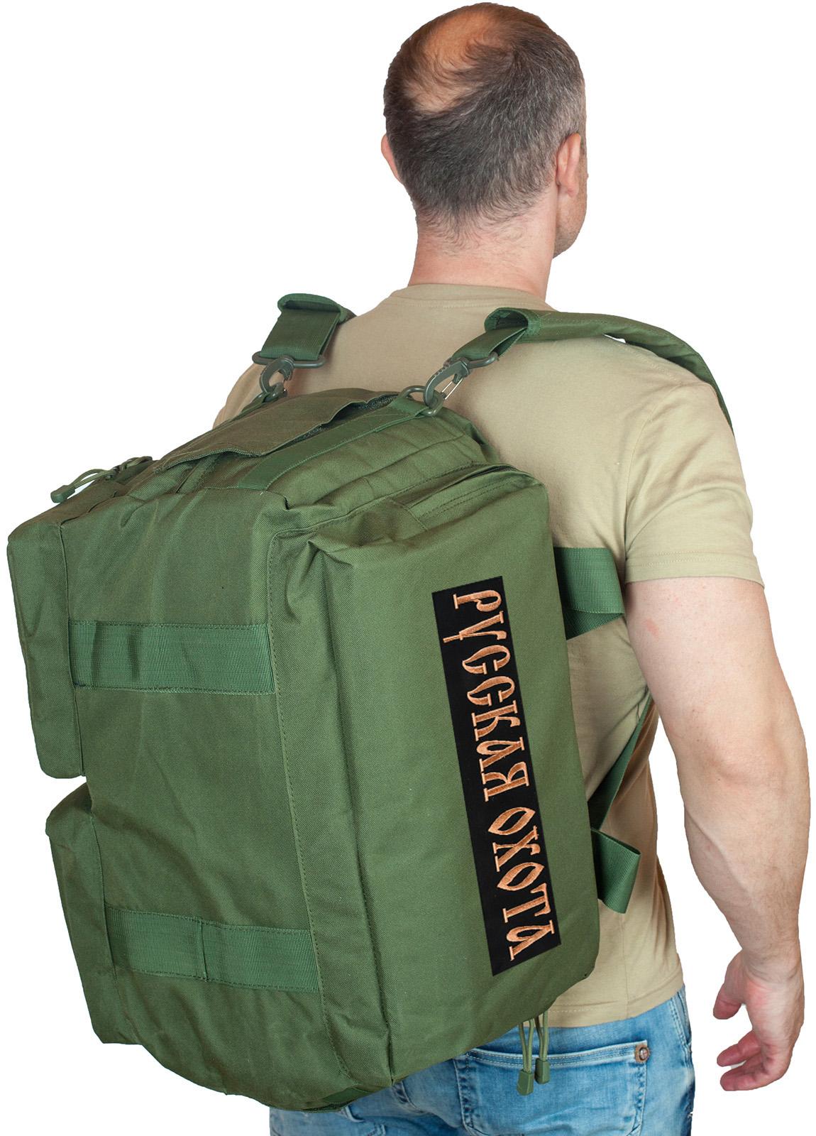 Купить походную сумку-рюкзак с нашивкой Русская Охота оптом или в розницу