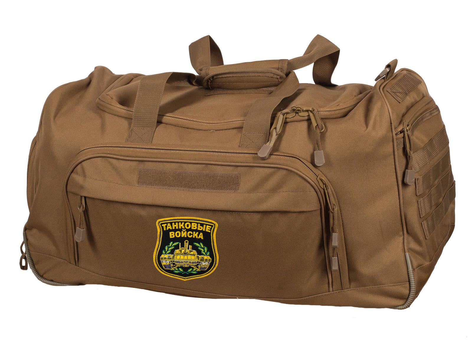 Походная вместительная сумка 08032 B Coyote с нашивкой Танковые Войска