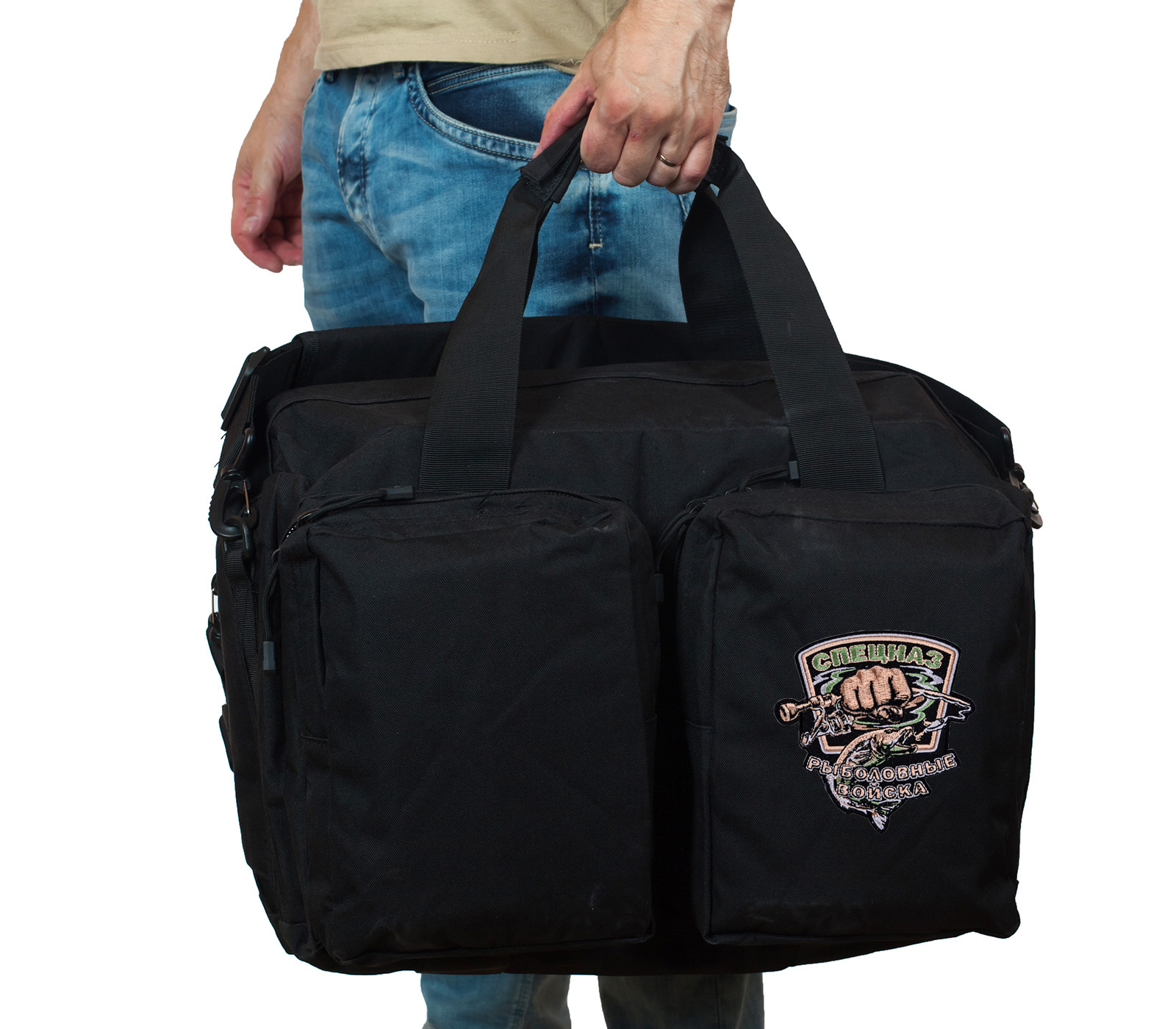 Полевая черная сумка с шевроном Рыболовного спецназа купить выгодно
