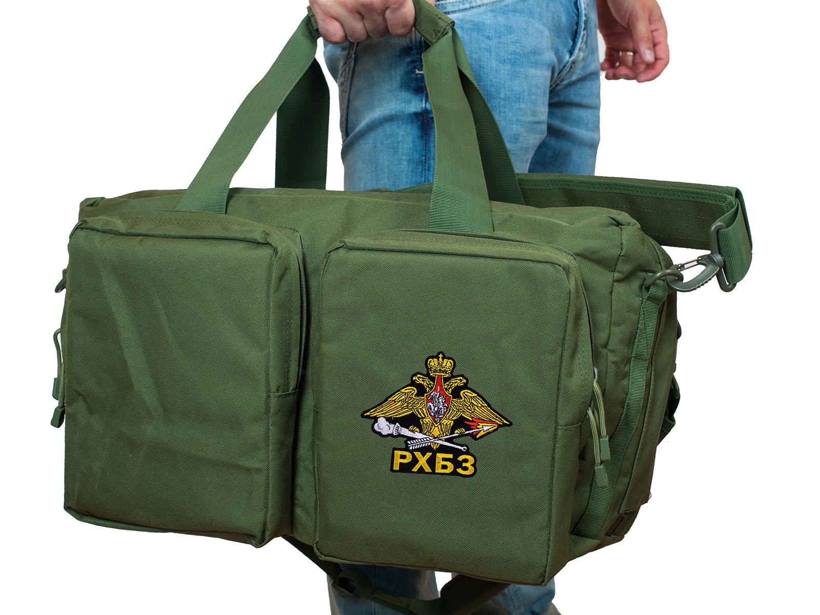 Полевая сумка-рюкзак в цвете хаки с эмблемой РХБЗ купить выгодно