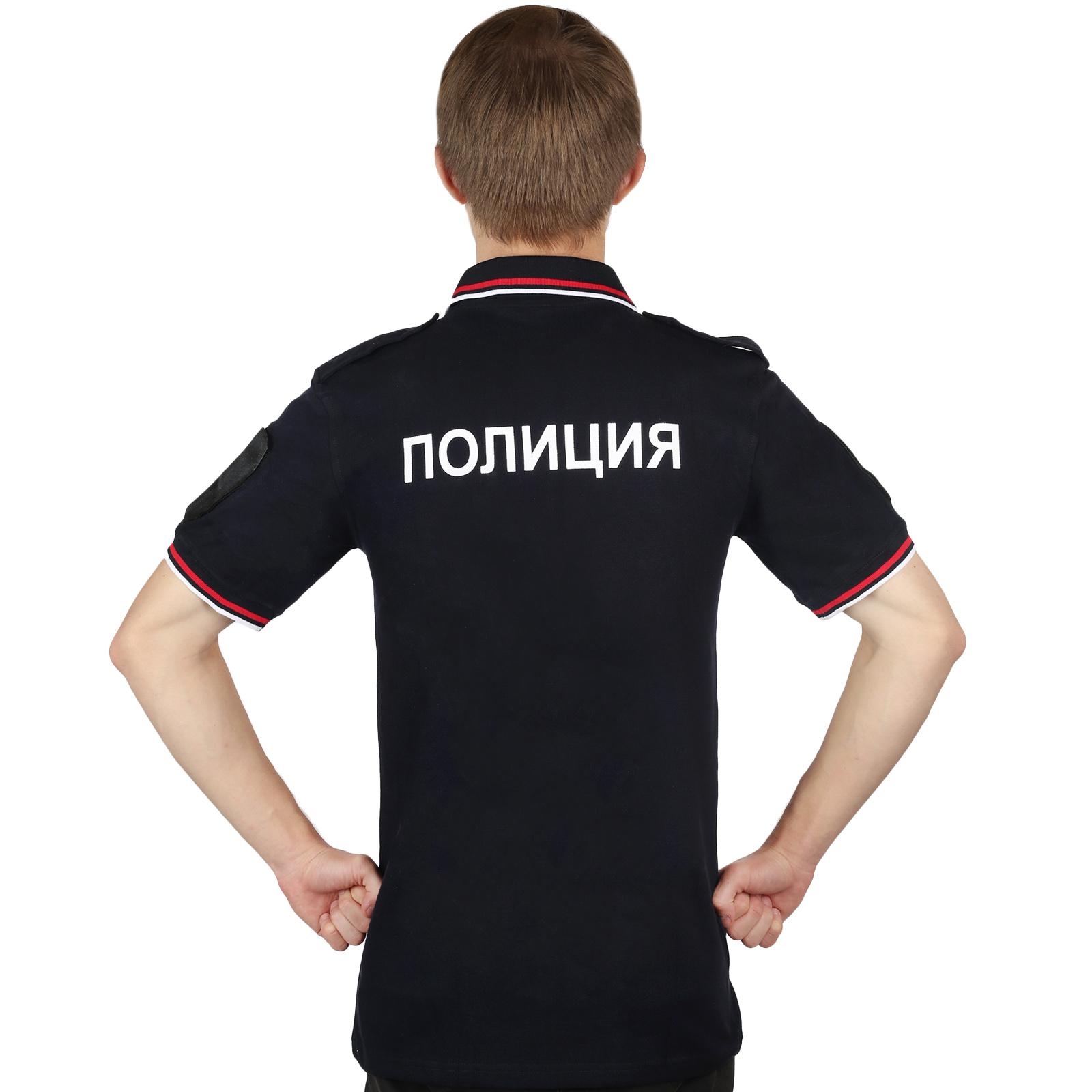 Полицейская футболка поло с надписью на спине