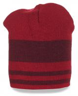 Полосатая шапка бордово-красная