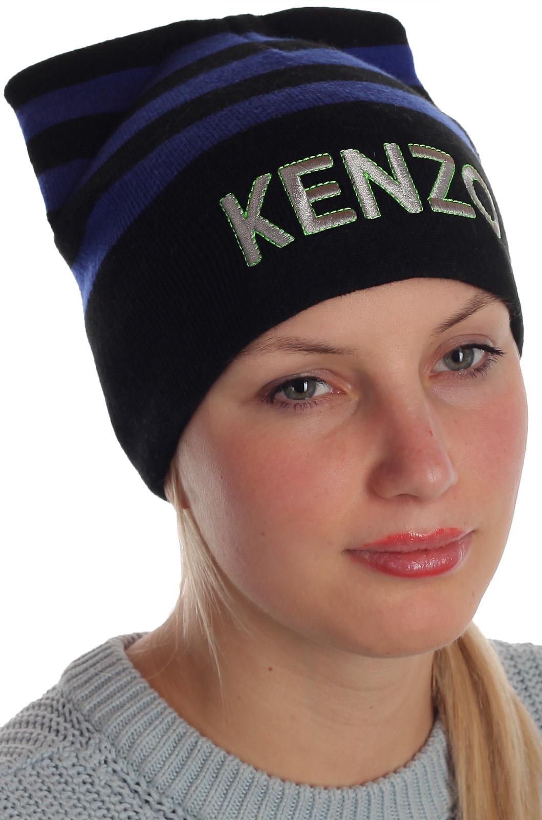 Полосатая шапка с ушками актуальный дизайн Kenzo не только для молоденьких девушек
