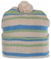 Полосатая спортивная шапка с бубоном