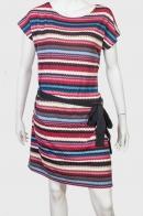 Полосатое очаровательное платье с пояском