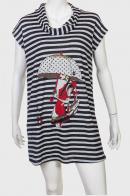 Полосатое платье-туника с контрастным принтом