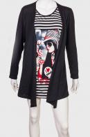 Полосатое платье-туника с легкой накидкой