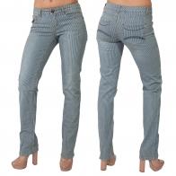 Полосатые женские джинсы-дудочки от FLG.