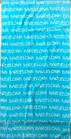 Полотенце голубое с белыми надписями