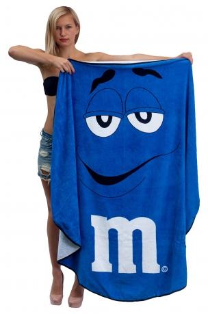 Полотенце махровое синее M&M's