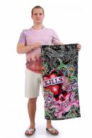 Цветное женское полотенце с брендовым лого Ed Hardy.