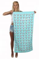Бирюзовое пляжное полотенце с малютками-пандами